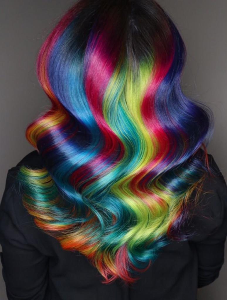 Картинки окрашенных волос в радужный цвет